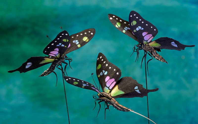 Rainbow colored artificial butterfly props
