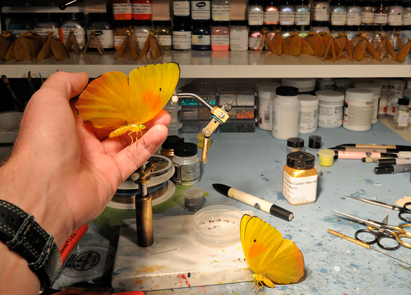 making yellow and orange detailed butterfly replicas
